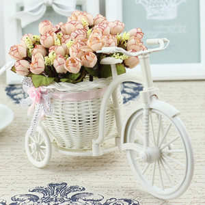 Image 3 - Rattan Bike Vase with Silk flowers Colorful Mini Rose flower Bouquet Daisy Artificial Flores For Home Wedding Decoration