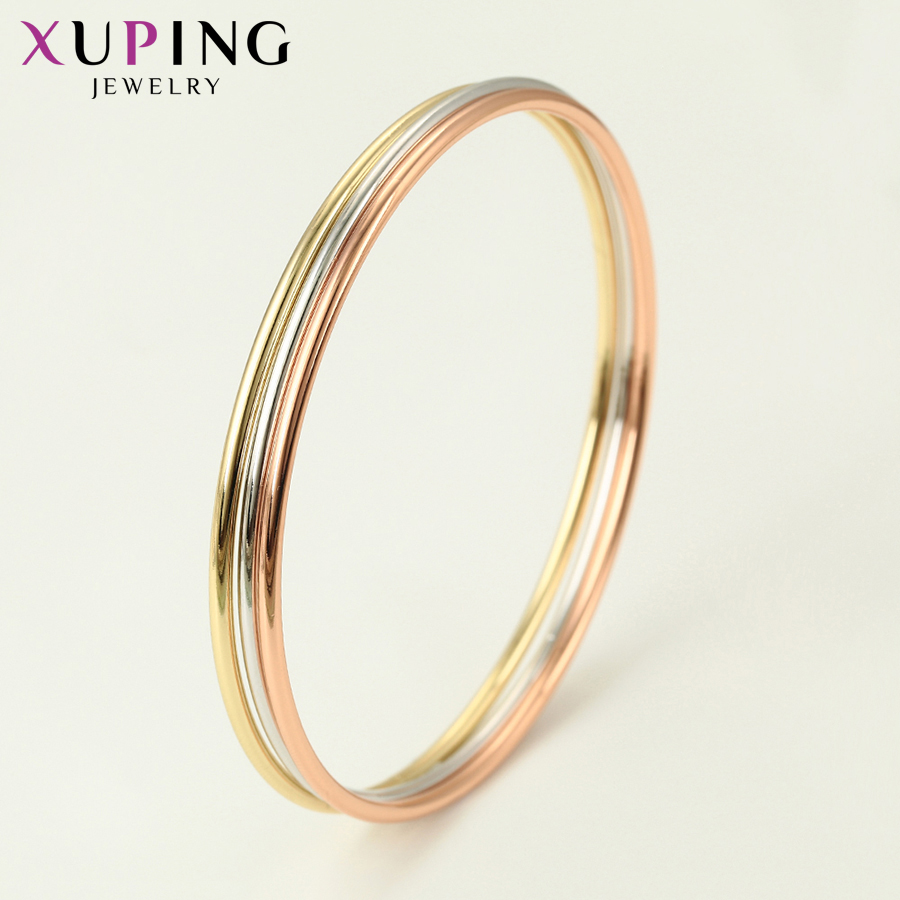 11.11 Deals Xuping Jewelry Simple Colorful Three Bangle Composition Charm for Neutral Women Christmas Day Gift S116,2-52213