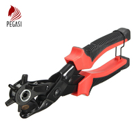 PEGASI 1pc Heavy Duty Eyelet Hole Punch 6 Sized Leather Strap Hole Punch Plier PVC Handle