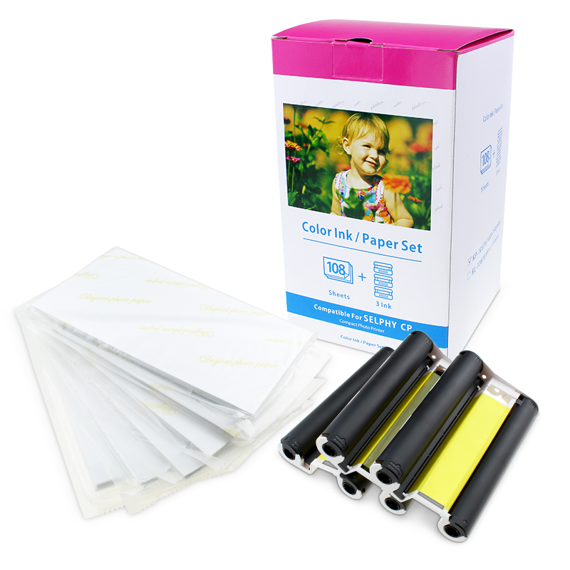 1 Pack Photo Paper Compatible Canon KP-108IN 3 Color Ink Cassette 108 Sheets 4 x 6 Paper Glossy For Canon SELPHY CP1300, CP1200