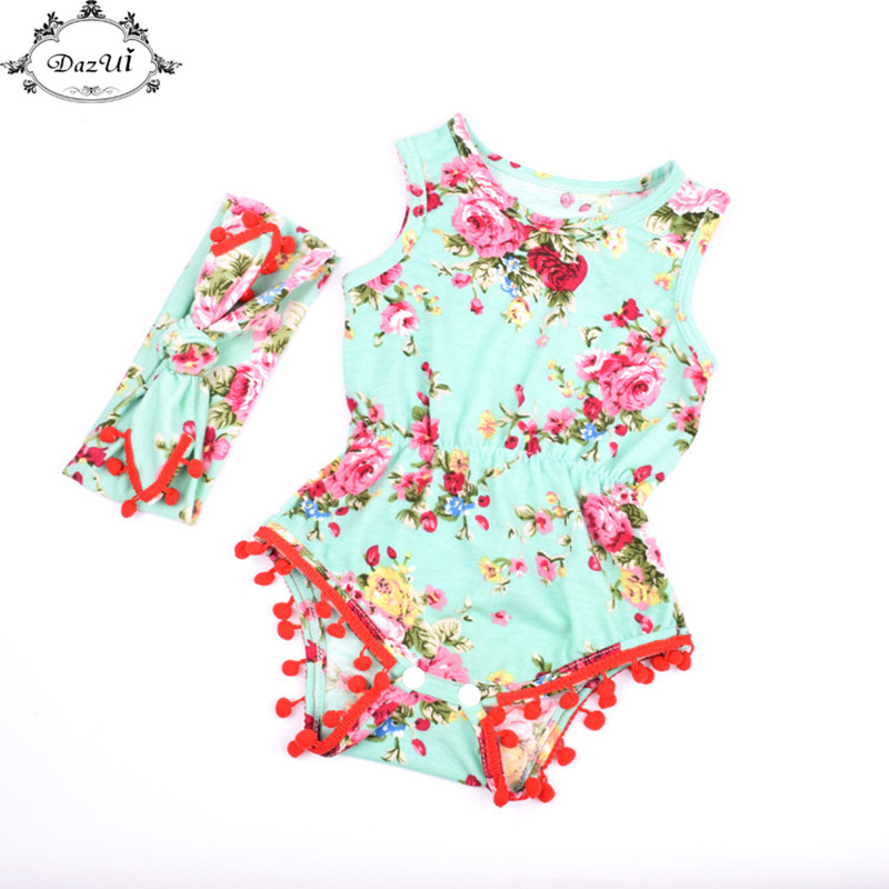 Floral Baby Clothes Red Pom Baby Bodysuit Set  Baby Girls Jumpsuit Toddler Outfit with Headband Summer Newborn Sunsuit 2017 floral baby romper newborn baby girl clothes ruffles sleeve bodysuit headband 2pcs outfit bebek giyim sunsuit 0 24m