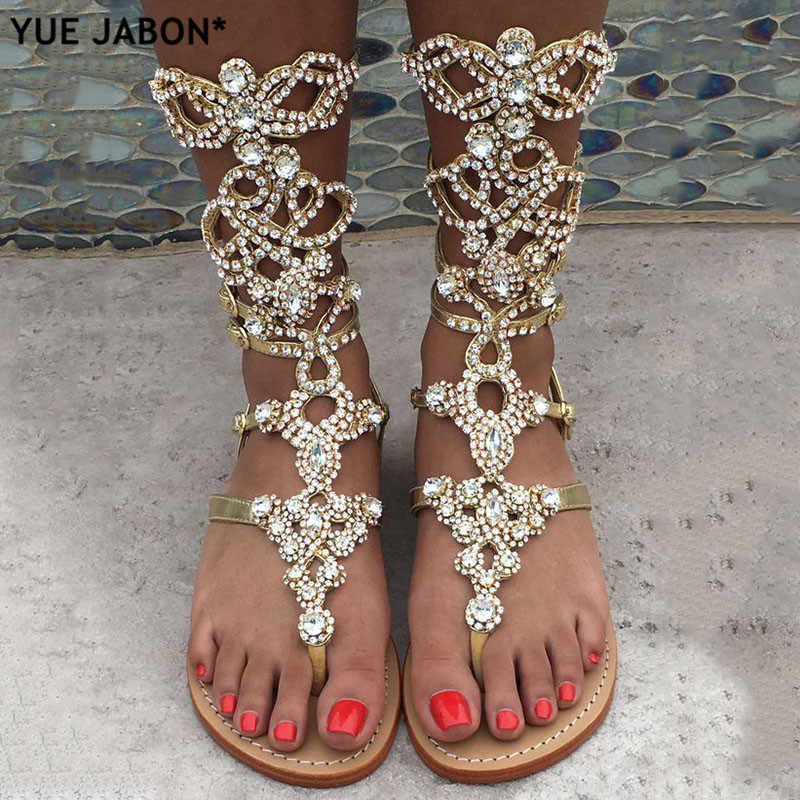 Size-34-47 High Quality Gold silver Rhinestone knee High Flat heel Sandals  Summer d23f8e00092b
