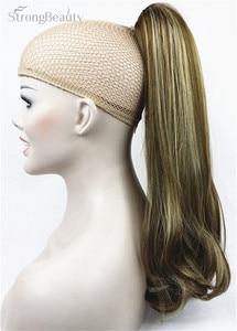 Image 1 - StrongBeauty 45 cm syntetyczne długie przypinany kucyk w kucyk ogon klipsy do przedłużania włosów na włosy proste Style 17 kolor