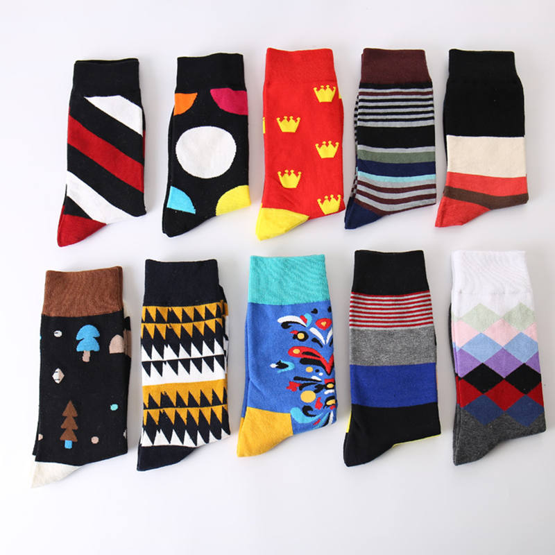 Men's socks funny fashion cotton sock men originality graffiti casual free socks simple packaging 1 pair colour cotton sock
