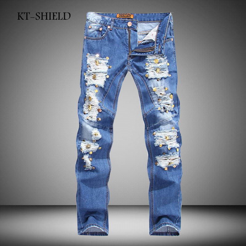 ФОТО New Ripped Elatic Mens Jeans Fashion Designer Biker Jeans Casual Mens Brand Clothing Skinny Rivet Jeans Slim Fit jeans homme