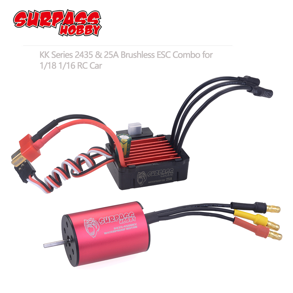 SURPASSHOBBY KK Combo 2435 3300KV 4500KV 4800KV 6100KV Brushless Motor w/ <font><b>25A</b></font> <font><b>ESC</b></font> for 1:16 1:18 RC Buggy Drift Racing Car image