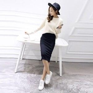 Image 2 - Saia de quadril com fenda e malha feminina, saia slim com fenda, stretch, cintura longa, primavera, outono e inverno, 2020 saias