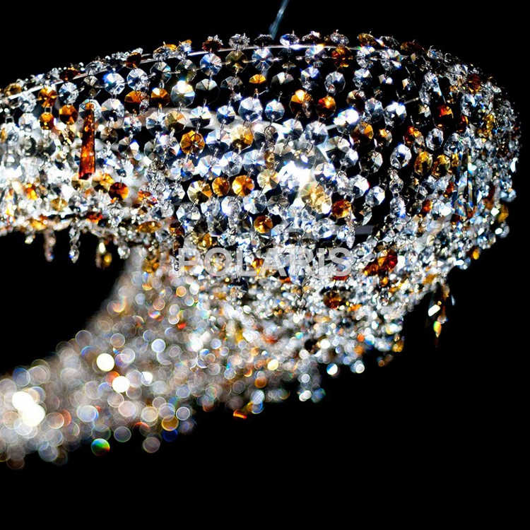 Современный роскошный светодиодный привести Хрустальная люстра освещения большой подвесной ручек на выбор, хрустальные лампы для Вилла Обеденная украшение для дома и отеля