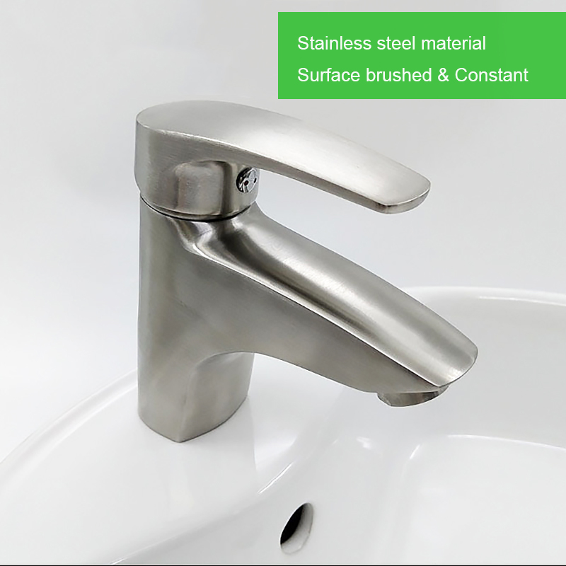 Stainless steel basin faucet bathroom water mixer brushed healthy unleaded hot and cold mixer accessories complete free shipping sus304 stainless steel dish basin faucet water tap ceramic disc cartridge single hot cool water mixer rotable unleaded faucet