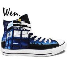 Wen Hand Painted Shoes Men Women's Design Custom Sneakers Doctor Who Tardis DW Dark Blue High Top Canvas Sneakers