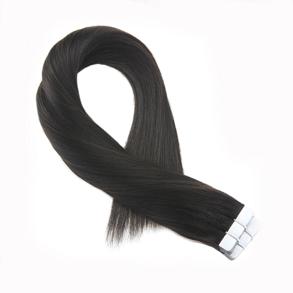 Moresoo Off Black 1b Tape In Hair Extensions Real Remy Brazilian Human Hair Skin Weft Tape In Hair 20pcs 50g
