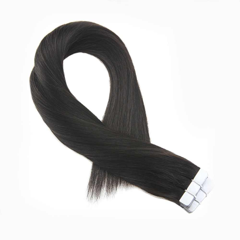 Moresoo Off Black #1B Tape In Hair Extensions Real Remy Brazilian Human Hair Skin Weft Tape in Hair Extensions 2.5g/pcs 25-100G