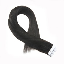 Moresoo Off Black #1B Tape In Hair Extensions Real Remy Brazilian Human Skin Weft in 2.5g/pcs 25-100G