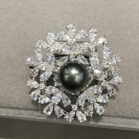 11MM Natural Tahiti Pearl Brooch Pins Scarf Buckle Real Black Pearl Brooch Fashion Women Jewelry Smart