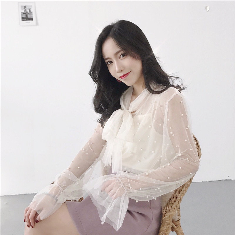 b020f5c6e313 Neploe Blouse 2019 Summer Spring Women Chiffon Shirt Gauze Bow Beading  Female Blouses Tops Office Shirts Blusa Pink White 34795-in Blouses & Shirts  from ...