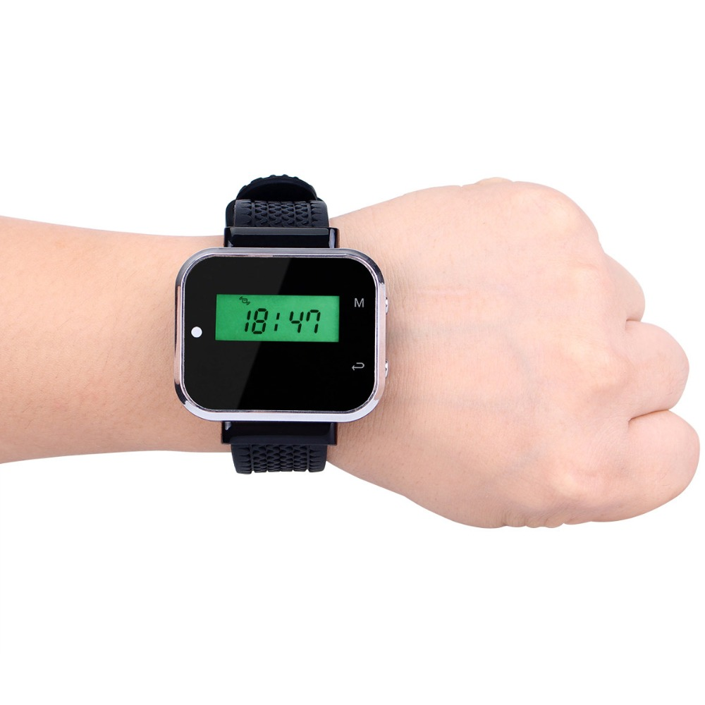 цена на 433.92MHz Watch Receiver Call Pager Wireless Waiter Calling System for Restaurant Equipment Bank Factory F3300A
