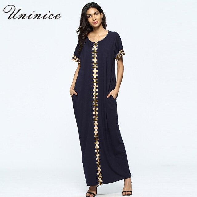 Muslim Abaya Embroidery Women s Maxi Summer Dress Long Robe Arab Islamic  Clothing Short Sleeve Cotton Full Length Sundress 46bcfa258