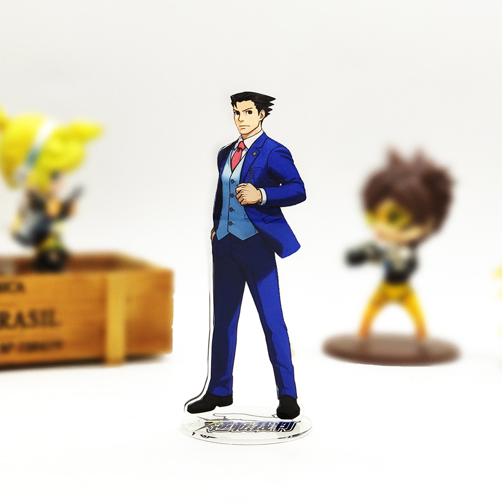 Love Thank You Gyakuten Saiban Phoenix Wright Naruhodo Ryuichi Acrylic Stand Figure Model Plate Holder Cake Topper Anime