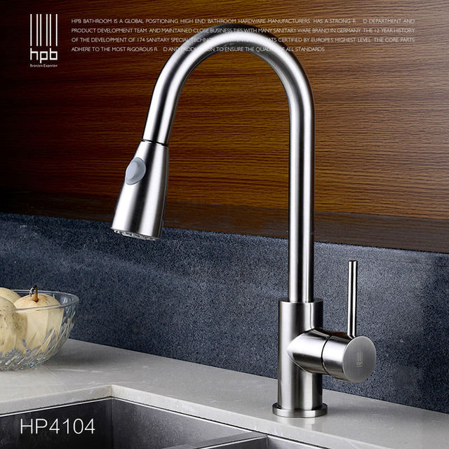 HPB Brass Brushed Pull Out Spray Kitchen Faucet Mixer Tap for Sinks ...
