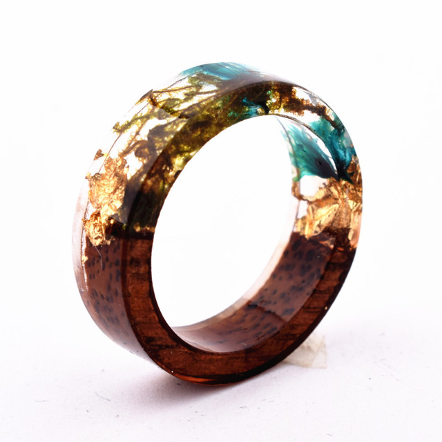 Qiaose Handmade Secret New Wood Resin Ring Flowers Plants