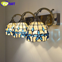 FUMAT 5 Inch Double Heads Three Heads Blue Lilac Shell Wall Lights Natural Shell Mirror Front Light European Wall Lamps