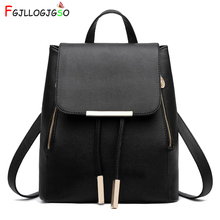 FGJLLOGJGSO Women Backpack High Quality PU Leather Mochila Escolar School Bags For Teenagers Girls Top-handle Backpacks Fashion