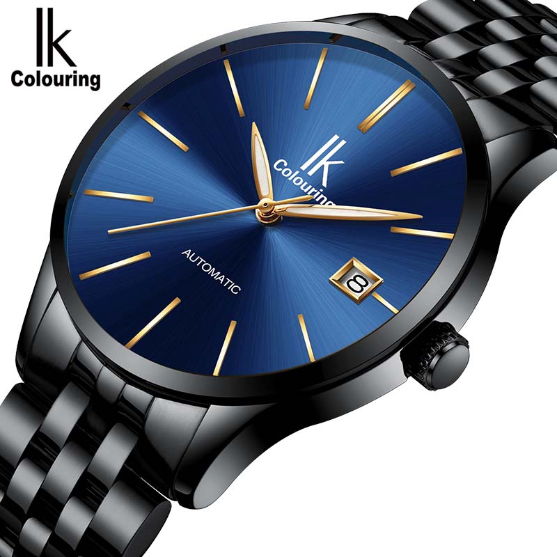 New Black Men's Automatic Mechanical WristWatch IK colouring Stainless Steel Watch Men Relogio Masculino Mens Watches Male new binkada men s automatic mechanical watches black dial stainless steel strap hand wind male wristwatch relogio masculino