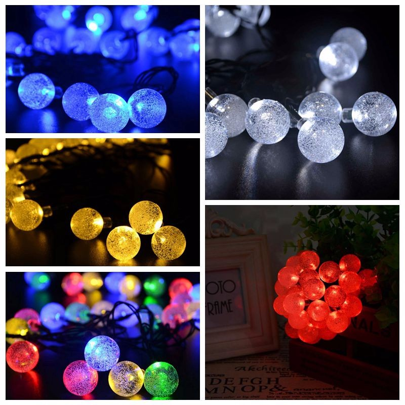 Waterproof Decorative Crystal Ball Solar String Lights for Garden, Yard, Home, Christmas Tree, Parties