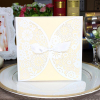 30pcs Pack White Universial Invitation Card Wedding Business Birthday Party Invitation Delicate Carved Pattern Decoration