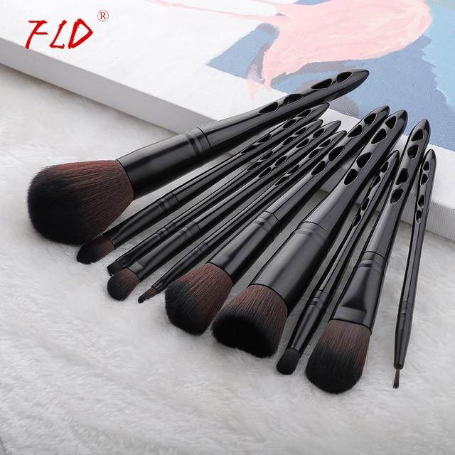 FLD 10pcs Professional Face Powder Lip Liner Eye Eyeliner Brushes Set Foundation Eyebrow Eyeshadow Make Up Brushes Set 2