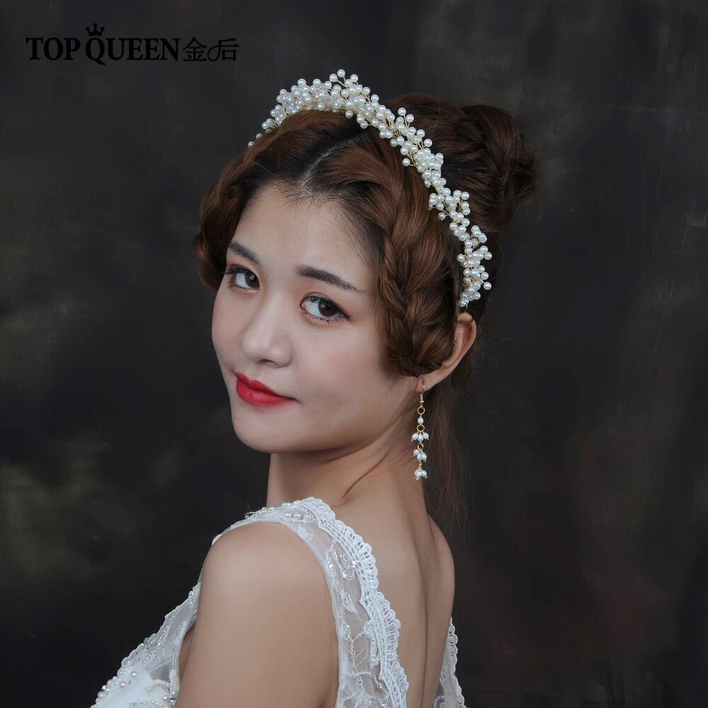 TOPQUEEN HP189 Wedding Tiara Handmade By Pearls Wedding Hair Accessories Bridal Tiara Bridal Headwear Bride Hair Jewelry