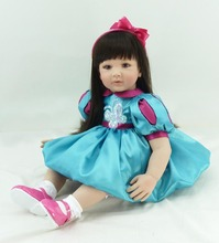 22 inch 55 cm Silicone baby reborn dolls, lifelike doll reborn  for girl  Children's toys  blue Princess Dress doll