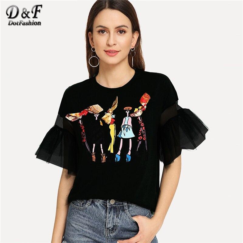 Dotfashion encaje negro arco de impresión de dibujos animados camiseta de mujer otoño 2019 ropa de moda Casual volante manga Tops de verano Preppy camiseta