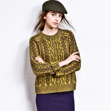 Women Sweater O-Neck Ladies Cashmere Sweater Pullover Autumn and Winter Retro Twist Knit Cashmere Sweater Es1026