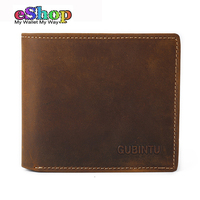 Original Brand Wallet Men Genuine Leather GUBINTU Casual Crazy Horse Cowhide Leather Men Wallet Short Coin
