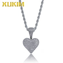 Xukim Jewelry Gold Silver Color Punk Rock AAA Cubic Zirconia Iced Out Hip Hop Jewelry Love Heart Pendant Necklace цены