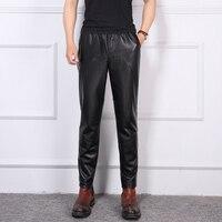 Men Tide Genuine Leather Pants Korean Leisure Slim Leather Feet Pants Male Harem Pants Natural Sheep Skin Elastic Waist Trousers