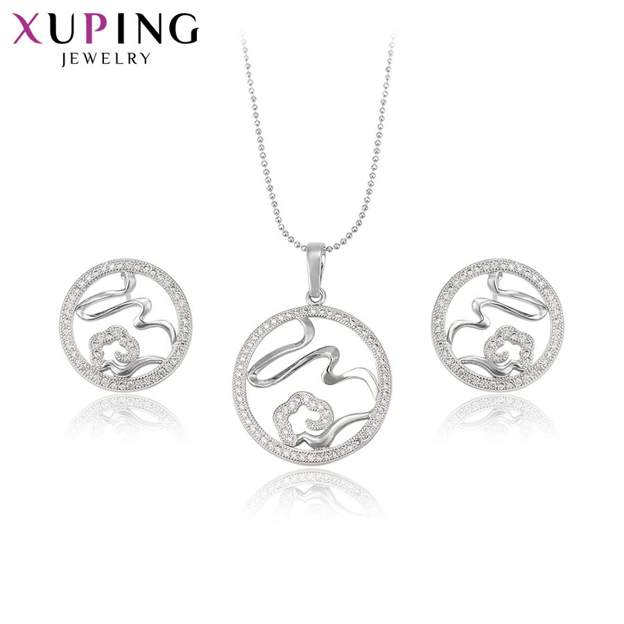 Xuping Fashion Elegant Temperament Ladies Set for Women Girls Hot Sell High Quality Engagement Jewelry Sets S71,3-61516