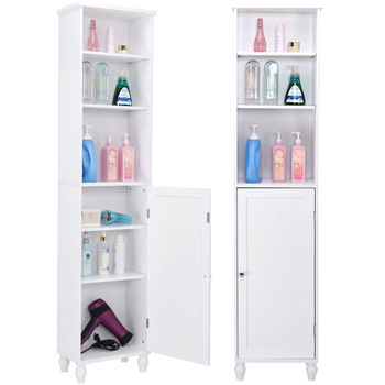 Giantex Bathroom Storage Cabinet Modern White Wood Tower Bath Cabinet Storage Shelving Display Cabinet HW57022
