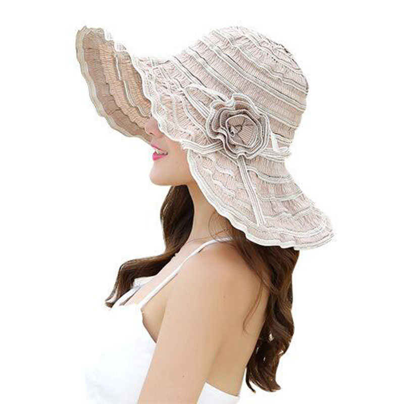Summer Women's Hat Fashion Folding Ventilation Sun Hats Anti-UV Beach Hat Wind Rope Fixed Adjustment Size Sunscreen Hat