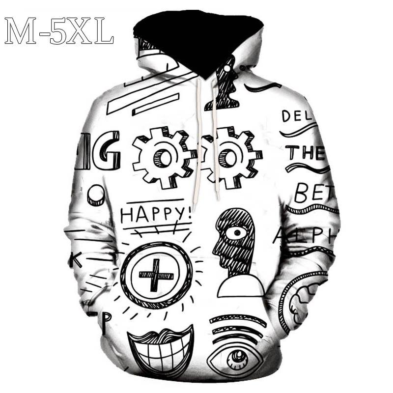 New Hoodies Men Spring Autumn Long Sleeve Hip Hop Hoodie Sweatshirts Men Graffiti Print Funny Pullovers Hoody Sweatshirt Men 5XL