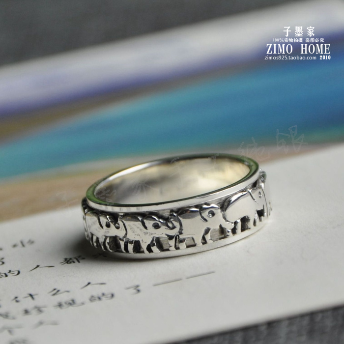 925 Sterling Silver Thailand handmade retro lucky Ring Silver Elephant transport couple ring elephant faux gem beaded ring