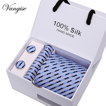 New Design Tie Set With Gift Box Jacquard Woven gravata Silk Tie Hanky Cufflinks Necktie Sets For Wedding Party Men