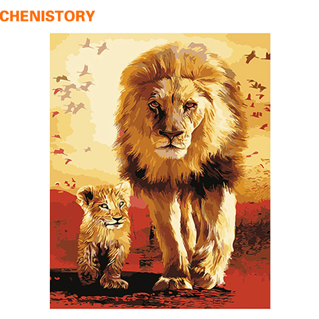 CHENISTORY Lion Familly Animals DIY Painting By Numbers Hand Painted ...
