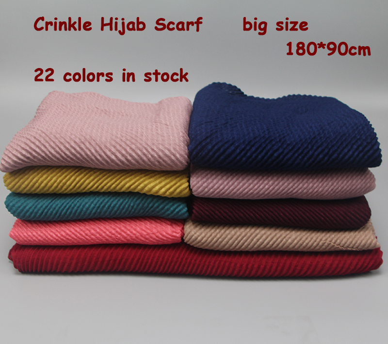 1 pc Women's Pleated Crinkle Hijab   Scarf   Muslim Head   Wrap   Shawl Wrinkled   Scarf   Large Size 180*80cm 22 colors
