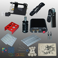 Complete Tattoo kits tattoo guns machine black tattoo machine power supply disposable needle free shipping 1100608-1kit