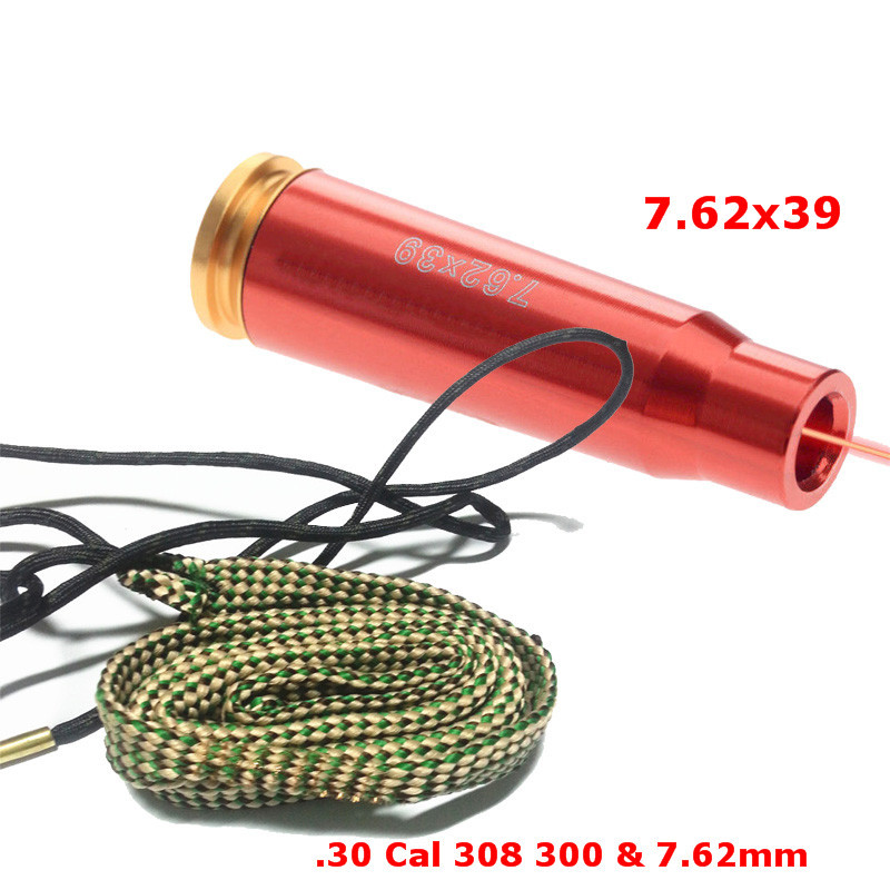 7.62x39 Cartridge Visible Red Dot Laser Boresighter W/ Bore Cleaner .30 Cal .308 30-06 .300 .303 & 7.62mm Rifle Gun Clean Rope mini kompas sleutelhanger