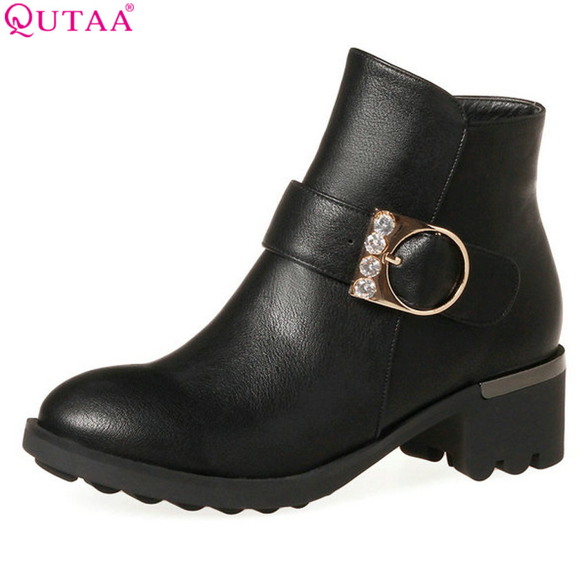 QUTAA 2018 Women Ankle Boots Square Mid Heel All Match Pu Leather Round Toe Zipper Design Women Motorcycle Boots Size 34-43 vinlle women boot square low heel pu leather rivets zipper solid ankle boots western style round lady motorcycle boot size 34 43