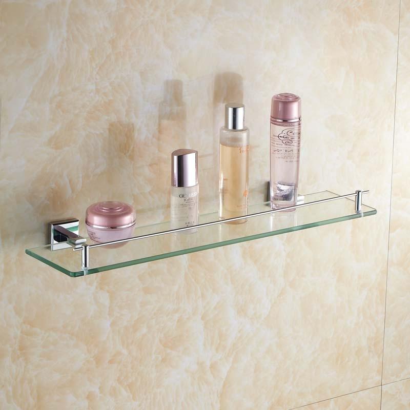 ФОТО Wall hanging Silver Brass Square Base Bathroom Glass Rack Cosmetics  Glass Shelf Bathroom Hardware Accessories