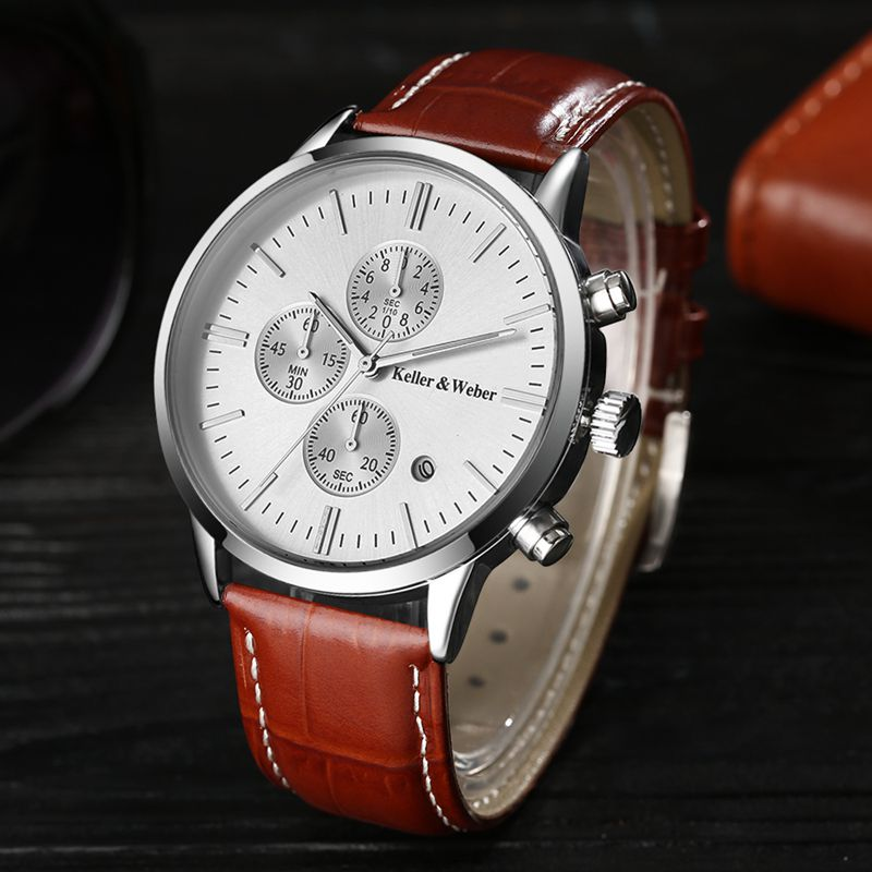 Keller & Weber Mens Watches 30m Waterproof Quartz Business Watches Date Display Genuine Leather Band Relogio Masculino Best Gift luise keller luise keller ожерелье 133319
